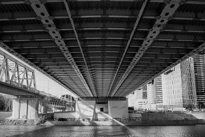 Under the bridge in the downtown