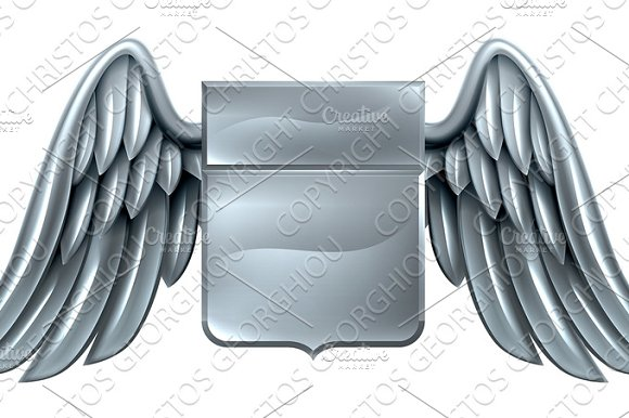 Silver Winged Shield Scroll Design