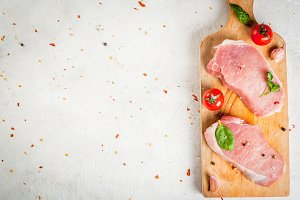 Raw pork, steaks