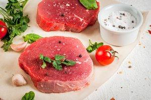 Raw beef, steaks