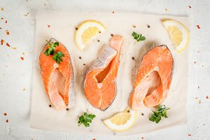 Raw  trout fish, salmon