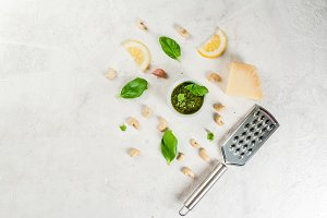 Pesto with ingredients