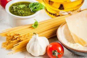 Ingredients for pesto pasta