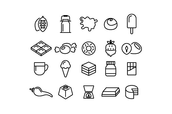 CHOCOLATE Vector Line Icons
