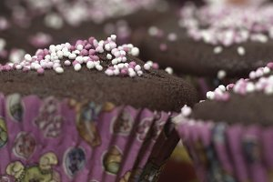 Muffins In Pink Forms For Baking .