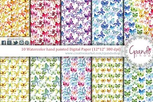 Butterfly watercolor digital paper