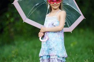 young fashion girl with umbrella