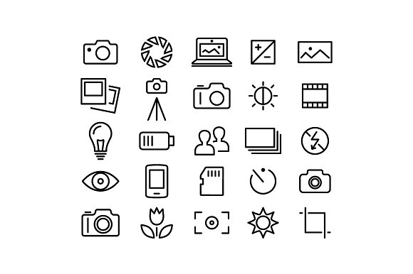PHOTOGRAPHY Vector Line Icons