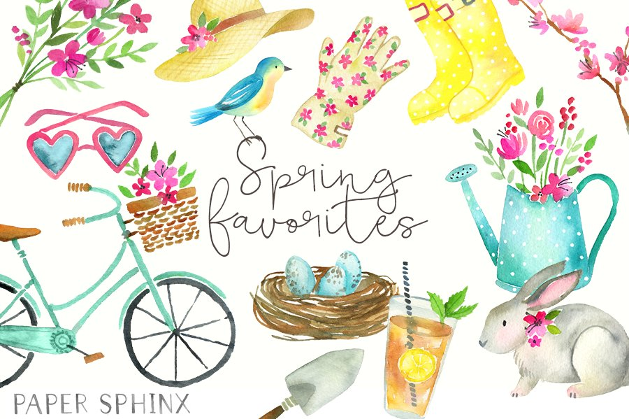Watercolor Spring Clipart Illustrations Creative Market