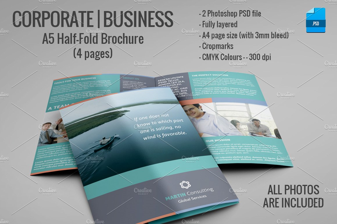 A5 half fold brochure 4 pages brochure templates creative market for Half page flyer template free