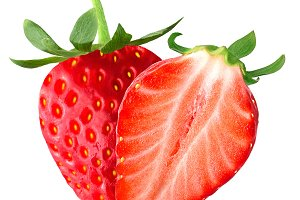 Isolated strawberry and half