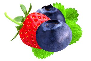 Strawberry and blueberry isolated