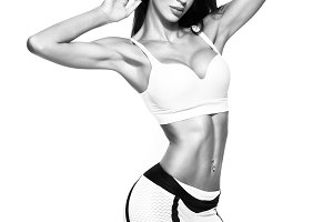 Fit and sporty beautiful woman with perfect shape