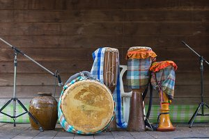 drums with Thai traditional music