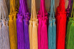 Yarn tassels with colorful