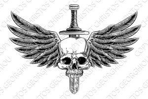 Woodcut Winged Skull Sword Insignia