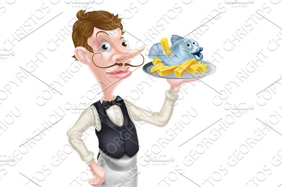 Butler Holding Fish And Chips Tray