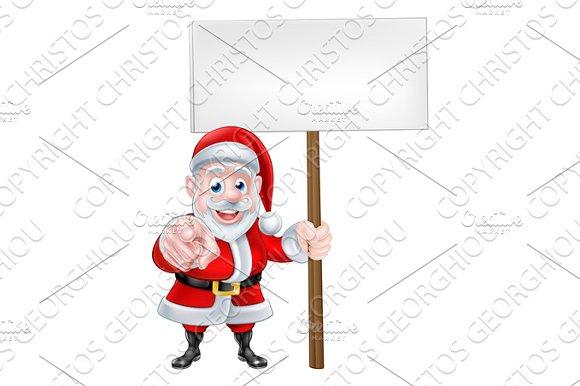 Santa Pointing At You With Sign