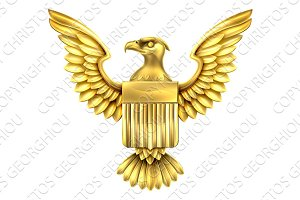 Gold American Eagle Shield