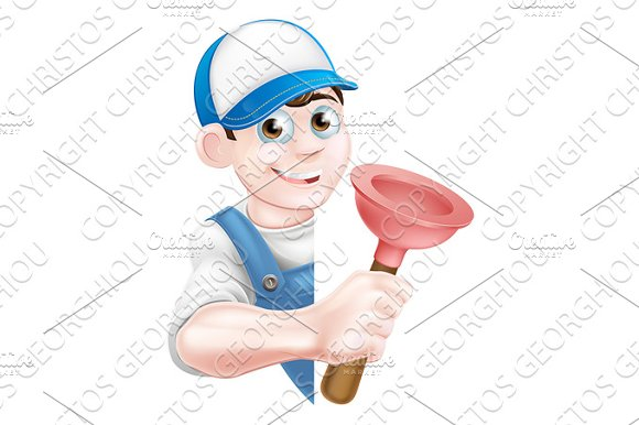 Cartoon Plunger Plumber