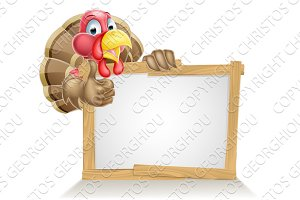 Happy Cartoon Turkey Sign