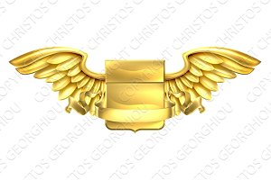 Golden Winged Shield Scroll Design