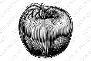 Vintage Woodcut Apple