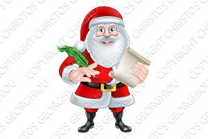 Santa Holding Scroll and Quill