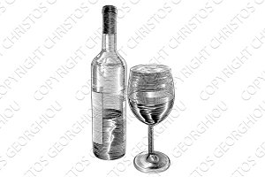 Vintage woodcut wine bottle and glass