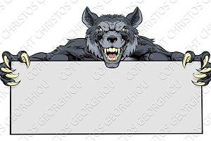 Wolf Sports Mascot Sign
