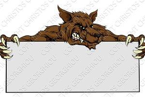 Wolf Mascot Sign
