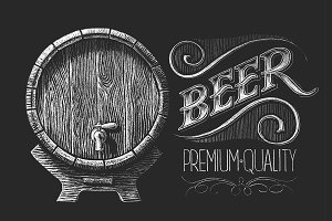 Barrel of beer. Chalk drawing