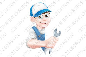 Cartoon Man Mechanic Plumber