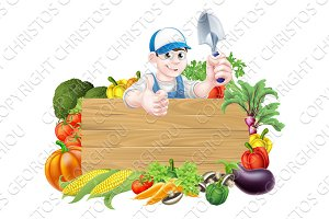 Cartoon Vegetable Gardener Sign