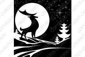 Winter Stag Illustration