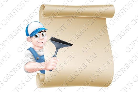 Cartoon Window Cleaner