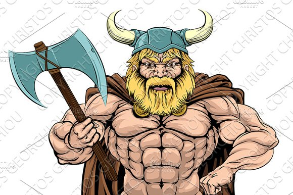 Viking Warrior Holding Axe