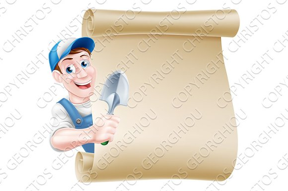 Cartoon Gardener Trowel Scroll