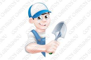Cartoon Spade Gardener