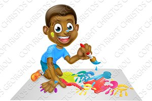 Cartoon Boy Painting With Brush