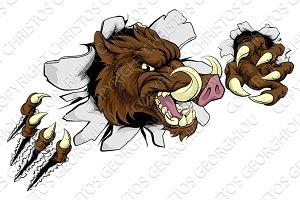 Mean Boar Warthog Razorback Mascot