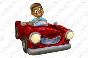 Cartoon Character Driving Car