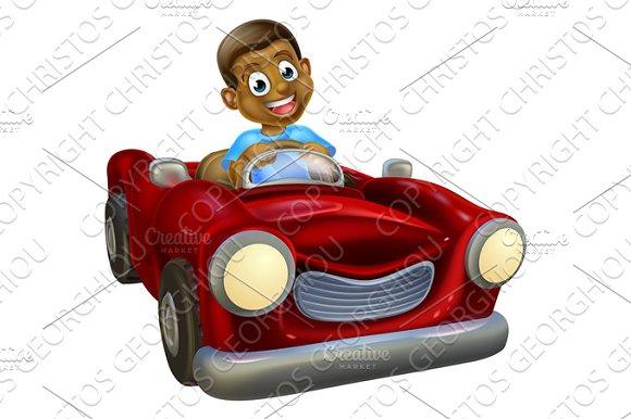 Cartoon Character Driving Car