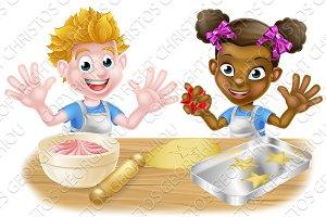 Cartoon Children Bakers Baking