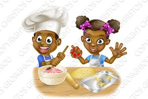 Cartoon Kid Chefs Cooking