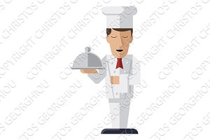 Chef holding serving platter