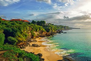 Panoramic sea view with picturesque beach at sunset