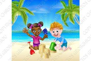 Cartoon Kids on the Beach