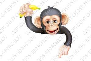 Banana Chimp Monkey Pointing