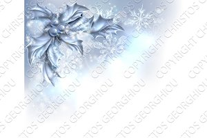 Abstract Silver Christmas Holly Background